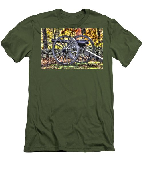 Men's T-Shirt (Slim Fit) featuring the photograph War Thunder - The Albemarle Va Artillery Wyatt's Battery-b2 West Confederate Ave Gettysburg by Michael Mazaika