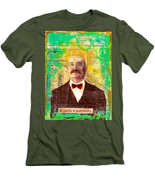 Men's T-Shirt (Slim Fit) featuring the painting Watch Carefully by Desiree Paquette