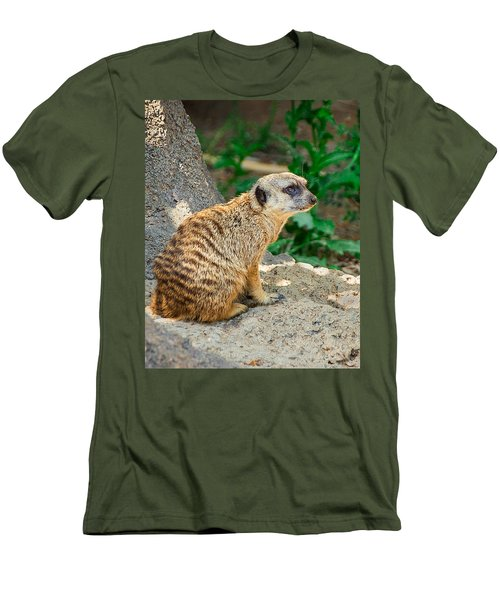 Watchful Meerkat Vertical Men's T-Shirt (Slim Fit) by Jon Woodhams