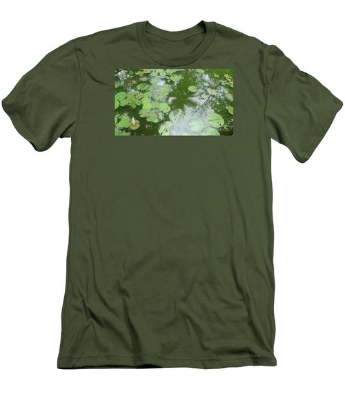 Men's T-Shirt (Slim Fit) featuring the photograph Water Lily Leaves And Palm Trees by Nora Boghossian