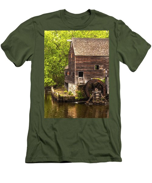 Men's T-Shirt (Slim Fit) featuring the photograph Water Wheel At Philipsburg Manor Mill House by Jerry Cowart