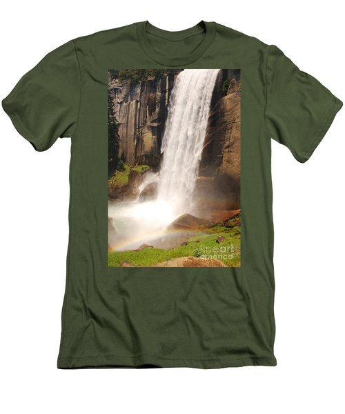 Waterfall Rainbow Men's T-Shirt (Slim Fit) by Mary Carol Story