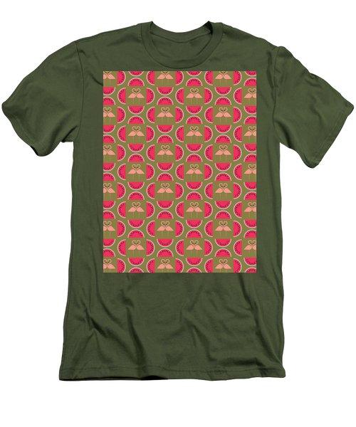 Watermelon Flamingo Print Men's T-Shirt (Slim Fit) by Susan Claire