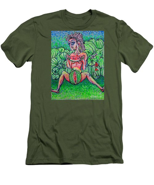 Men's T-Shirt (Slim Fit) featuring the painting Watermelon Sale/sketch/ by Viktor Lazarev