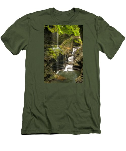 Watkins Glen Falls Men's T-Shirt (Slim Fit) by Anthony Sacco
