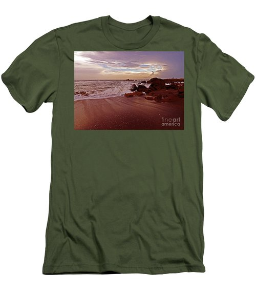 Waves Break Hands Shake Men's T-Shirt (Slim Fit) by Lydia Holly