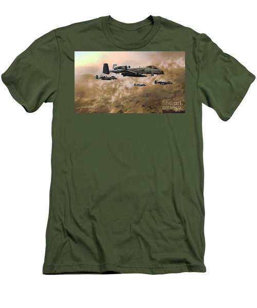 Men's T-Shirt (Slim Fit) featuring the painting Waypoint Alpha - Outline by Dave Luebbert