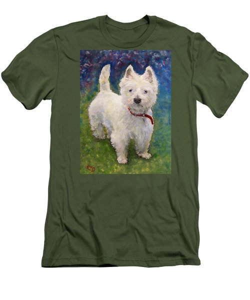Men's T-Shirt (Slim Fit) featuring the painting West Highland Terrier Holly by Richard James Digance