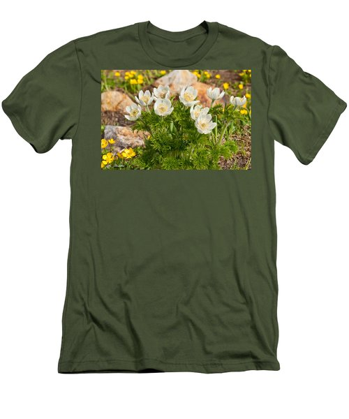 Western Pasqueflower And Buttercups Blooming In A Meadow Men's T-Shirt (Slim Fit) by Jeff Goulden