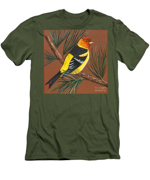 Men's T-Shirt (Slim Fit) featuring the painting Western Tanager by Jennifer Lake