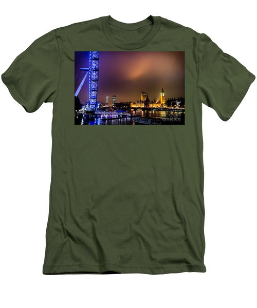 Men's T-Shirt (Slim Fit) featuring the photograph Westminster And Eye Night Glow by Matt Malloy