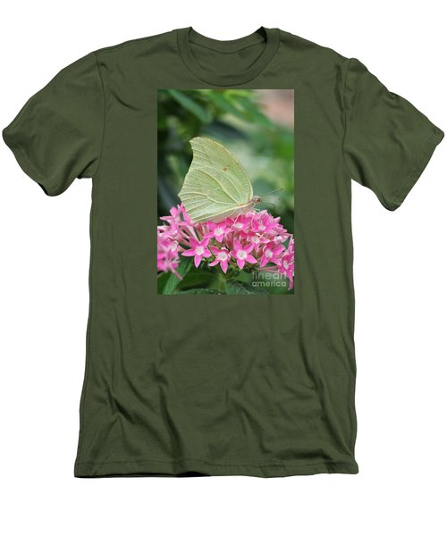 Men's T-Shirt (Slim Fit) featuring the photograph White Angled Sulphur by Judy Whitton
