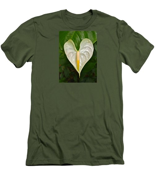 White Anthurium Heart Men's T-Shirt (Slim Fit) by Venetia Featherstone-Witty