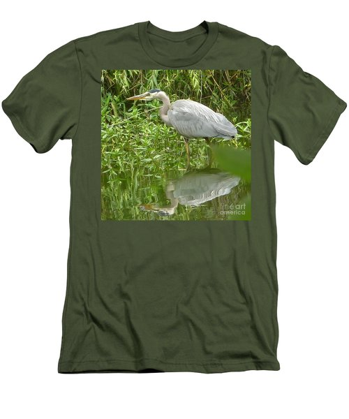 White Egret Double  Men's T-Shirt (Slim Fit) by Susan Garren