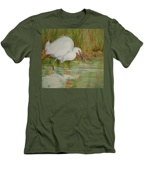 White Egret Wading  Men's T-Shirt (Athletic Fit)