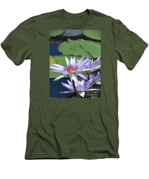 White Lilies Men's T-Shirt (Slim Fit) by Chrisann Ellis