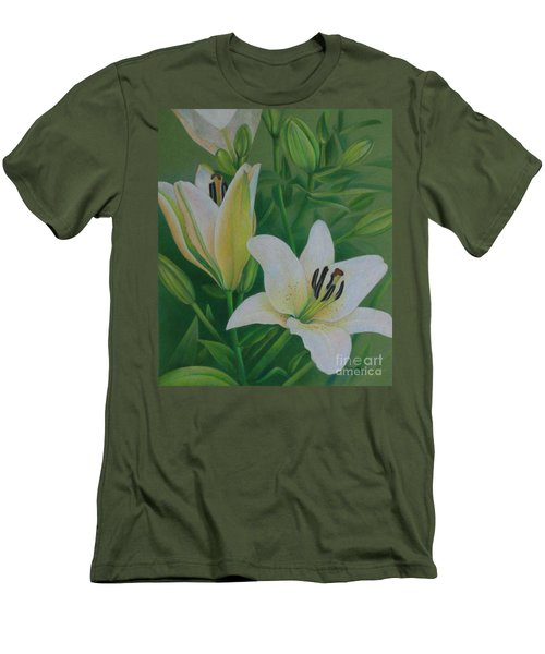 Men's T-Shirt (Slim Fit) featuring the painting White Lily by Pamela Clements