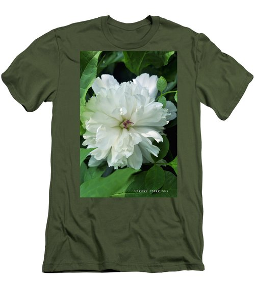 Men's T-Shirt (Slim Fit) featuring the photograph White Peonese by Verana Stark