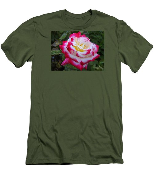 White Rose With Pink Texture Hybrid Men's T-Shirt (Slim Fit) by Lingfai Leung