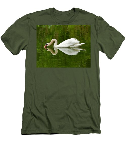 Men's T-Shirt (Slim Fit) featuring the photograph Graceful White Swan Heart  by Jerry Cowart