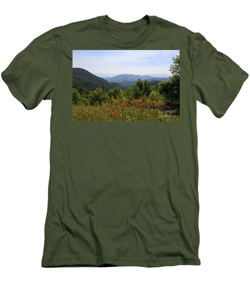 Wild Lilies With A Mountain View Men's T-Shirt (Athletic Fit)