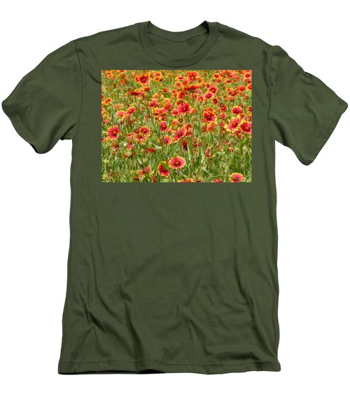 Men's T-Shirt (Slim Fit) featuring the photograph Wild Red Daisies #1 by Robert ONeil
