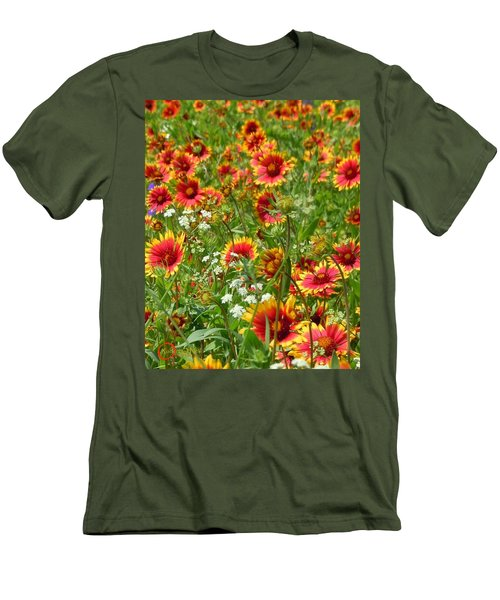 Men's T-Shirt (Slim Fit) featuring the photograph Wild Red Daisies #2 by Robert ONeil