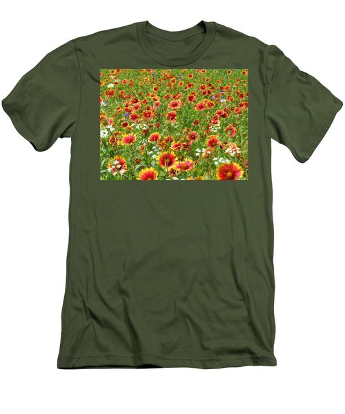 Men's T-Shirt (Slim Fit) featuring the photograph Wild Red Daisies #3 by Robert ONeil