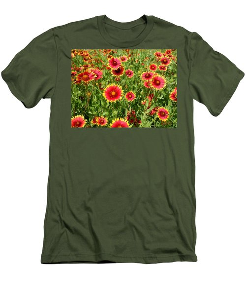 Men's T-Shirt (Slim Fit) featuring the photograph Wild Red Daisies #4 by Robert ONeil