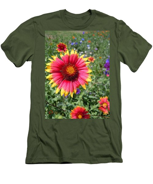 Men's T-Shirt (Slim Fit) featuring the photograph Wild Red Daisy #1 by Robert ONeil