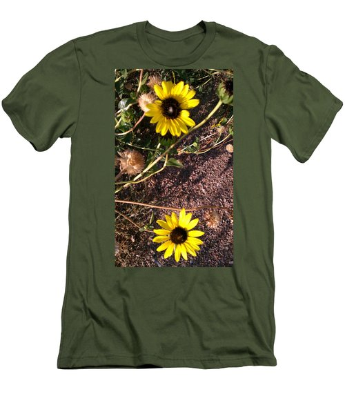 Men's T-Shirt (Slim Fit) featuring the photograph Wild Sunflowers by Fortunate Findings Shirley Dickerson