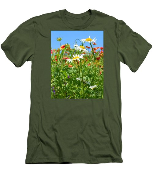 Men's T-Shirt (Slim Fit) featuring the photograph Wild White Daisies #2 by Robert ONeil