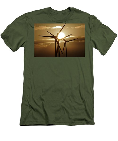 Wind Turbines Silhouette Against A Sunset Men's T-Shirt (Athletic Fit)