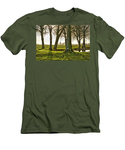 Windmill And Trees In Groningen Men's T-Shirt (Slim Fit) by Frans Blok