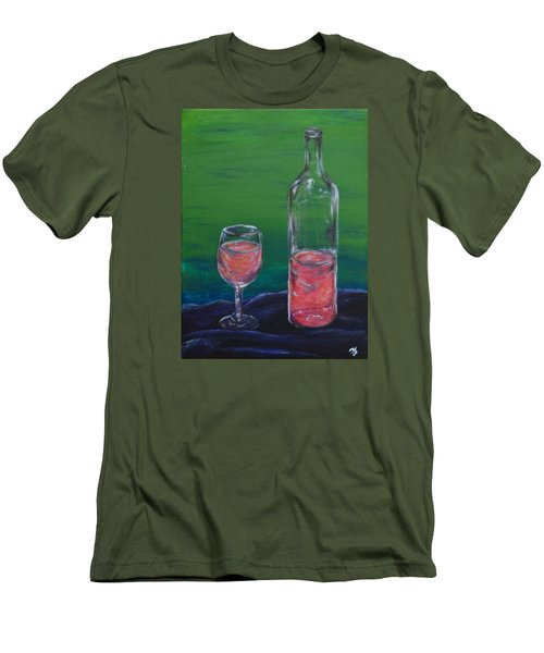 Wine Glass And Bottle Men's T-Shirt (Athletic Fit)