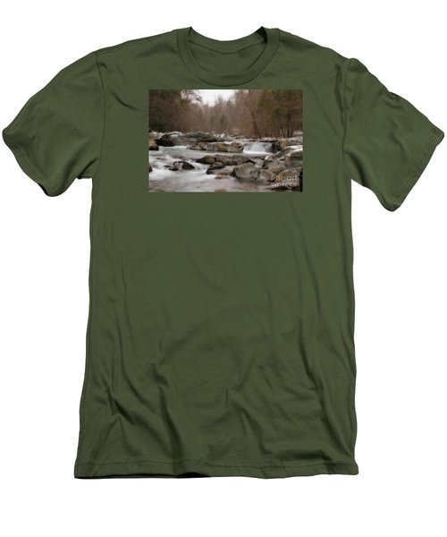 Men's T-Shirt (Slim Fit) featuring the photograph Winter Stream by Geraldine DeBoer