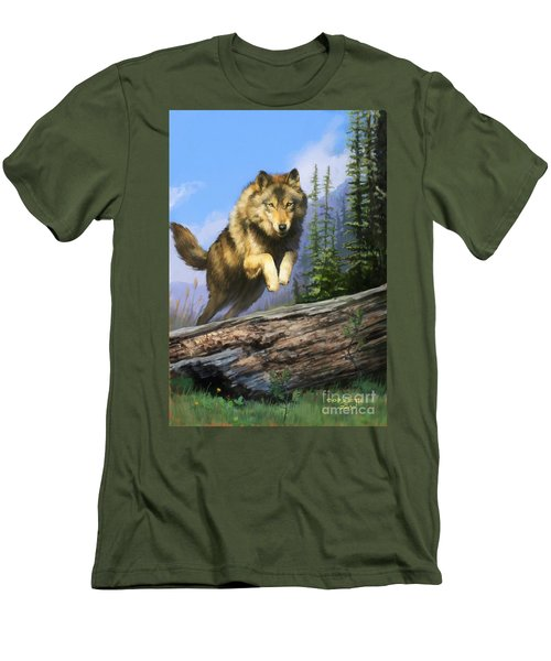Men's T-Shirt (Slim Fit) featuring the painting Wolf Run by Rob Corsetti