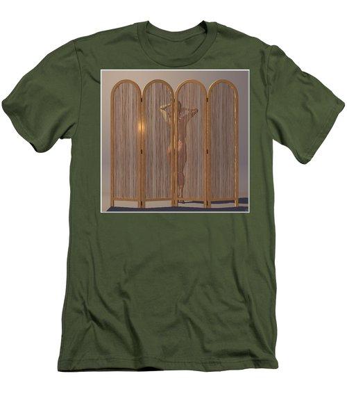 Men's T-Shirt (Slim Fit) featuring the digital art Woman Behind Screen... by Tim Fillingim