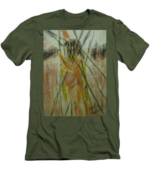 Woman In Sticks Men's T-Shirt (Slim Fit) by David Trotter