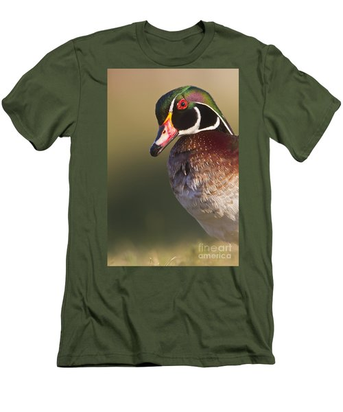 Men's T-Shirt (Slim Fit) featuring the photograph Wood Duck Portrait by Bryan Keil