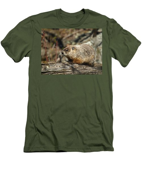 Men's T-Shirt (Slim Fit) featuring the photograph Woodchuck by James Peterson