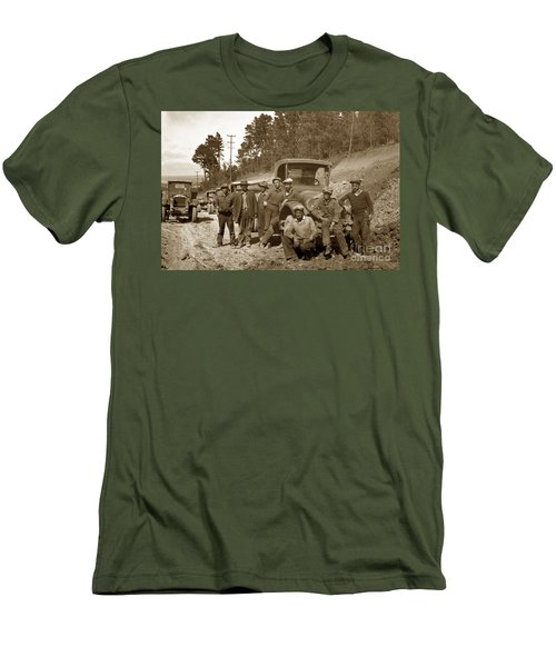 Workers On Highway One Monterey Carmel Hill California 1929 Men's T-Shirt (Slim Fit) by California Views Mr Pat Hathaway Archives