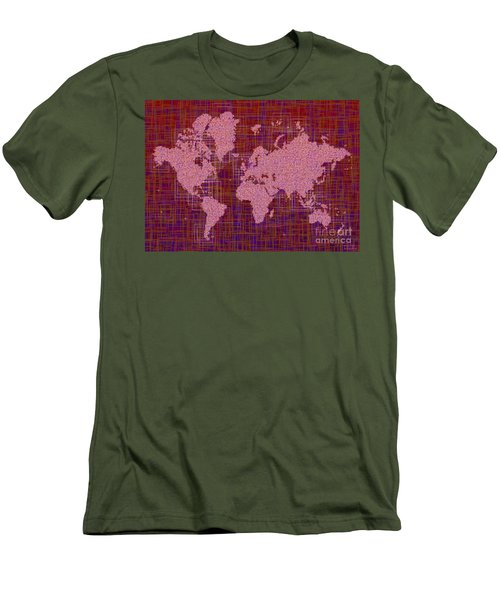 World Map Rettangoli In Pink Red And Purple Men's T-Shirt (Slim Fit) by Eleven Corners
