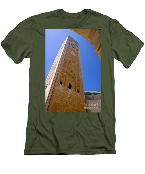 Men's T-Shirt (Slim Fit) featuring the photograph Worlds Tallest Minaret At 210m Hassan II Mosque Grand Mosque Sour Jdid Casablanca Morocco by Ralph A  Ledergerber-Photography