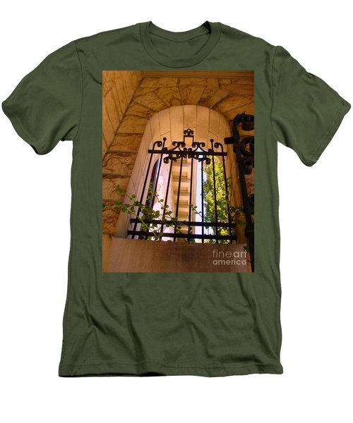 Men's T-Shirt (Slim Fit) featuring the photograph Wrought Iron Arch Window 1 by Becky Lupe