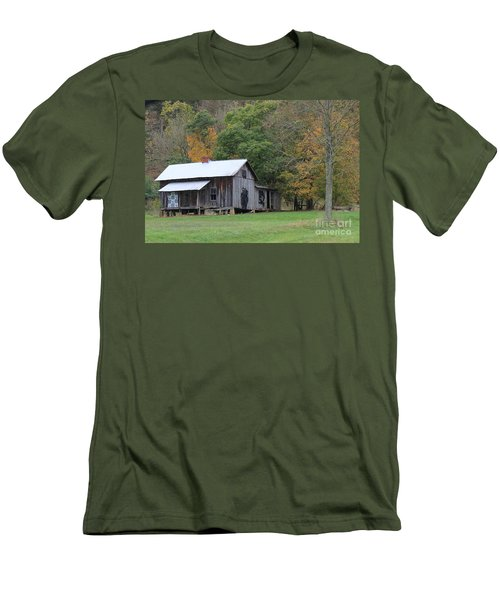 Ye Old Cabin In The Fall Men's T-Shirt (Athletic Fit)