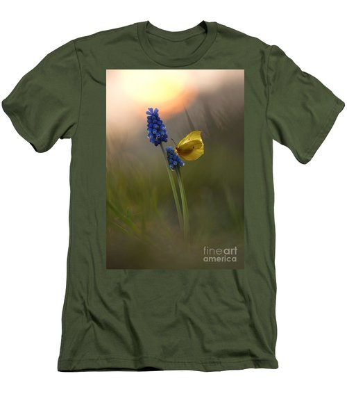 Yellow Butterfly On Grape Hyacinths Men's T-Shirt (Slim Fit) by Jaroslaw Blaminsky