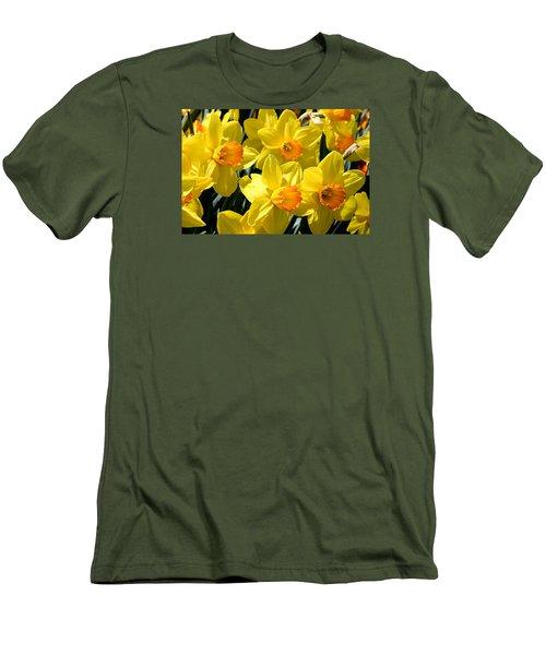 Yellow Daffodils Men's T-Shirt (Slim Fit) by Menachem Ganon