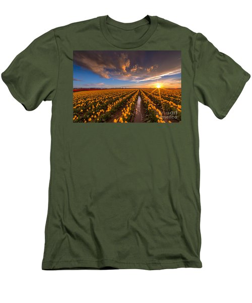 Yellow Fields And Sunset Skies Men's T-Shirt (Slim Fit) by Mike Reid