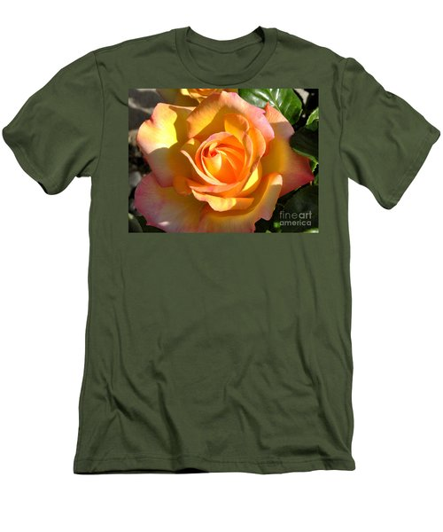 Yellow Rose Bud Men's T-Shirt (Slim Fit) by Debby Pueschel